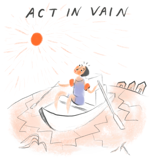 Illustration of a person in a rowing boat